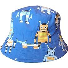 Bebé Niño Azul Cangrejos & Robots Estilo De Cubo Sombrero Para El Sol Verano
