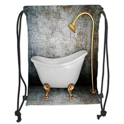Icndpshorts Drawstring Backpacks Bags,Retro,Vintage Bathtub in Room with Grunge Wall Lifestyle Resting Spa Theme Art Print,Grey White Gold Soft Satin,5 Liter Capacity,Adjustable String Closure -