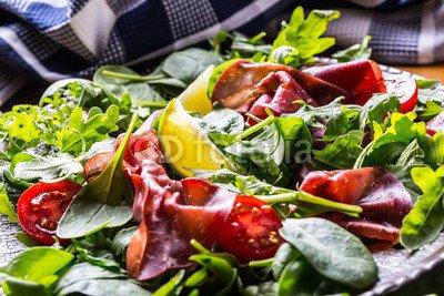 druck-shop24 Wunschmotiv: Dried beef bresaola. Salad bresaola arugula baby spinach tomatoes lime and cheese parmesan. #119418084 - Bild auf Leinwand - 3:2-60 x 40 cm/40 x 60 cm