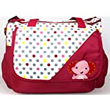 Rachna's Polka Dots Elephant Print Multi-Purpose Travel Organizer Water Repellent Baby Diaper Bag - 6028 - Maroon