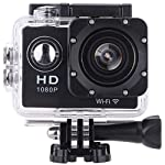 Vemont WiFi Full HD 1080P 12MP Sports Action Camera 2.0 Inch Display 170 Degrees Wide Angle Lens Waterproof Motorcycle Helmet Cams Waterproof Underwater Camera with Rechargeable Battery Kit of Accessories (Black)