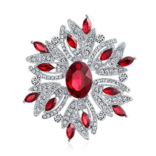 Bling Jewelry Große Aussage Vintage-Stil Kristall Blume Rot Weiß Broschen & Anstecknadeln Für Damen Für Mutter Versilbert