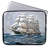 17-17.3 Inch Soft Water Resistance Neoprene Laptop Sleeve Unique Dreadnought Sailing Clipper Design Computer Case for Laptop Notebook Computer Sleeve Both Sides