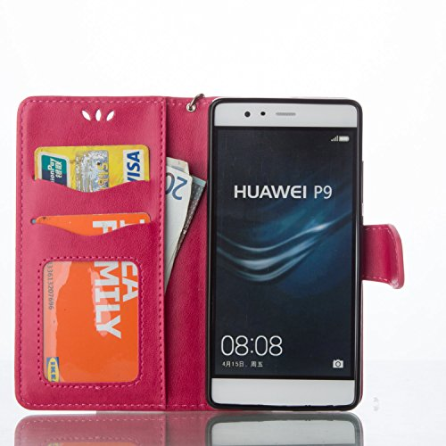 Huawei P9 Case,Huawei P9 Leather Case,Huawei P9 Cover,Flip Wallet case for Huawei P9,Cool 3D Love Hearts Patterned PU Leather Stand Function Protective Cases Covers with Card Slot Holder Wallet Book Design Fordable Magnet Closure Case for Huawei P9