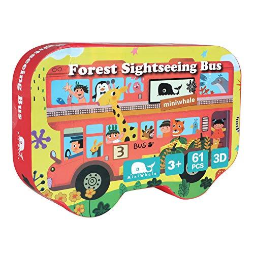 MiniWhale Puzzle 3D Bus Floor Puzzle Bildung und Lernen Puzzles für Kinder Kinder Kleinkinder Mädchen Jungen Puzzles 3-10 Jahre altes Spielzeug
