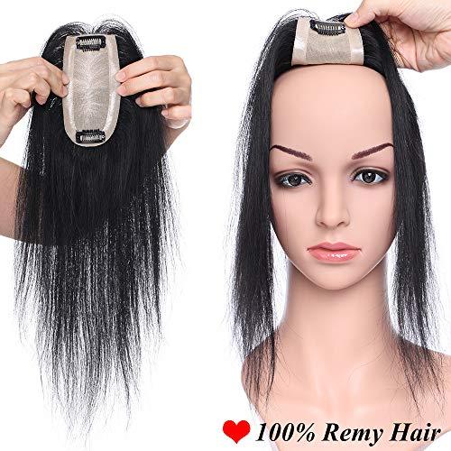 Hair topper da donna capelli umani extension clip veri lisci lunghi neri 30cm 100% indian human hair crochet base 6cm x 13cm 120% density parrucca 30g #1 jet nero