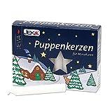 JEKA 3 Packungen je 20 Puppenkerzen, Weiss, Ø 10 mm Länge 65 mm Inkl. 1 Dekohelden24 Feuerzeug...