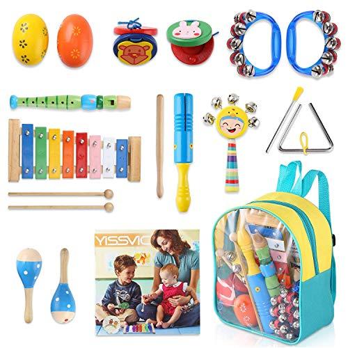 Yissvic 11PCS Musikinstrumente Musical Instruments Set Spielzeug von Holz Percussion Schlagzeug Schlagwerk Rhythmus Band Werkzeuge für Kinder und Baby (Verpackung MEHRWEG)