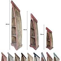 Preisvergleich für Regal in Bootsform Badregal Bootsregal Boot Regal Bücherregal Bücherschrank Standregal Aufbewahrung 203 cm Albesia Holz Braun Rot