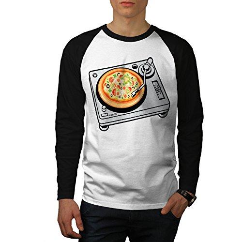 Pizza Dj Mischen Musik Essen Herren S Baseball lange Ärmel T-Shirt | Wellcoda (Bekam Baseball)