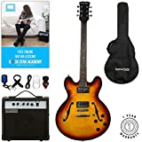 Stretton Payne 335 Hollow Body Semi Acoustic Electric Guitar with practice amplifier, padded bag, strap, lead, plectrum, tuner, spare strings. Guitar in Sunburst