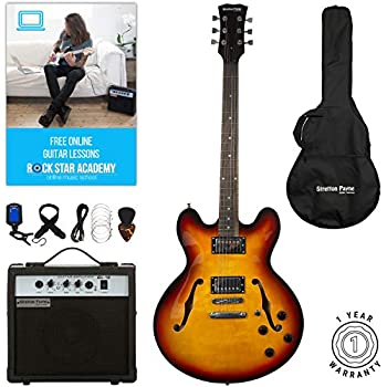 stretton payne 335 hollow body semi acoustic electric guitar with practice amplifier padded bag. Black Bedroom Furniture Sets. Home Design Ideas