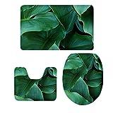 Fenteer 3-Teilige Baum Stil Badezimmer Matte Badteppich Badvorleger Duschmatte Teppich - Grüne Pflanze