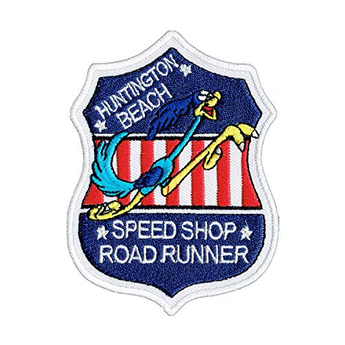 Lucky Patches, Aufnäher, Applikation, Aufbügler, Iron on Patch - Road Runner, Huntington Beach, Speed Shop