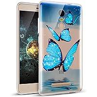 ikasus® Funda para Xiaomi Redmi Note 3con dibujo pintado en relieve, carcasa protectora en silicona TPU transparente y semirígida, ultra fina, azul