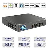 Pico 3D DLP Projektor,HDMI 1080p 350 ANSI Lumen(2000 lumens) WIFI 2.4G / 5G Bluetooth Lautsprecher Auto Keystone Wireless Beamer mit USB HDMI AV TF Audio Eingänge für Smartphone TV PC DVD