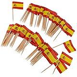 non-brand Homyl Confezione da 100 Bastoncini per Bandiere Fatti di Carta di Alta qualità - Spagna