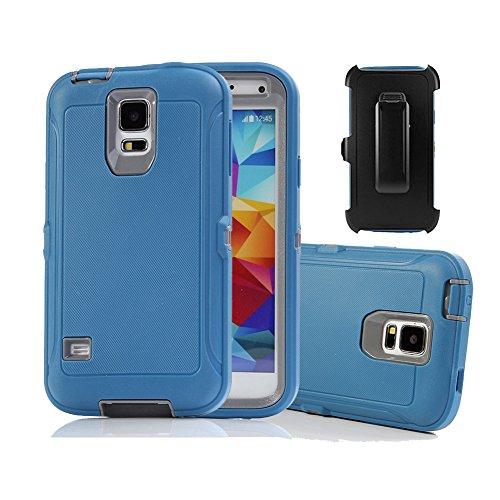 Galaxy S5Holster Fall, harsel Defender Series Heavy Duty Baum Camo High Impact Tough Rugged Hybrid Rubber Schutz w 'Gürtelclip Integrierter Displayschutzfolie Schutzhülle für Galaxy S5, Blue Gray High-impact-holster