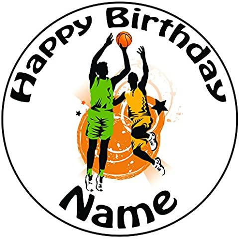 Personalised giocatori di pallacanestro–Topper per torta a pre-cut rotondo 8