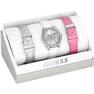 Guess - Reloj de cuarzo para mujer, correa de cuero color blanco de Guess