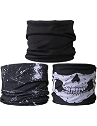 (3 PACK) Multifunctional Headwear...Plain Black / Black Splatter / Skull Jaw