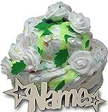 Babygeschenke personalisiert Windeltorte Natur Blüten mit Namen Set I Nachtlicht für Mädchen Junge I Lillydoo Windeln