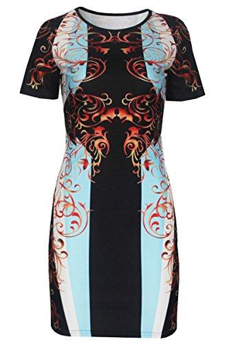 Dissa® D22203 femme mode robe moulante Multicolore