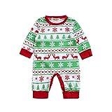 Hirolan Baby unisex Weihnachten Party Spielanzug Christmas Baby Strampler Kostüme Langarm baby weihnachtsstrampler (100cm, Grün)