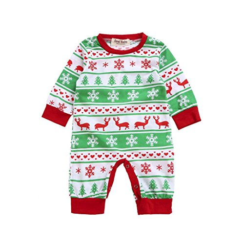 Hirolan Baby unisex Weihnachten Party Spielanzug Christmas Baby Strampler Kostüme Langarm baby weihnachtsstrampler (70cm, Grün) (Tanz Kostüme Outfit)