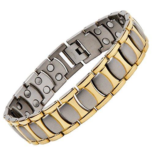 North South Titanium T48Silber und Gold bunt Magnetverschluss Link Armband mit GRATIS Luxus-Geschenk-Box + Demontagewerkzeug