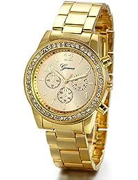 JewelryWe - Reloj de pulsera unisex, banda de acero inoxidable, correa dorada