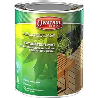 Owatrol 514 – Cubiertas aqua duraderas conservación de la madera 1 litro (teca)