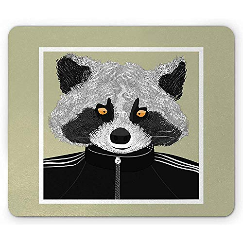Glatten Oberflächen Mousepad,Raccoon Mouse Pad Sports Animal In Gymnastic Clothes Exercise Work Out Activity Hobby Joy Rectangle Non-Slip Rubber Mousepad 18X22Cm