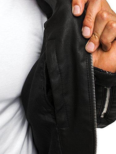 OZONEE Herren Übergangsjacke Jacke Bikerjacke Kunstlederjacke Sweats Sweatjacke Faux Leder Frühlingsjacke J.BOYZ 8009 Schwarz_J.BOYZ-778001