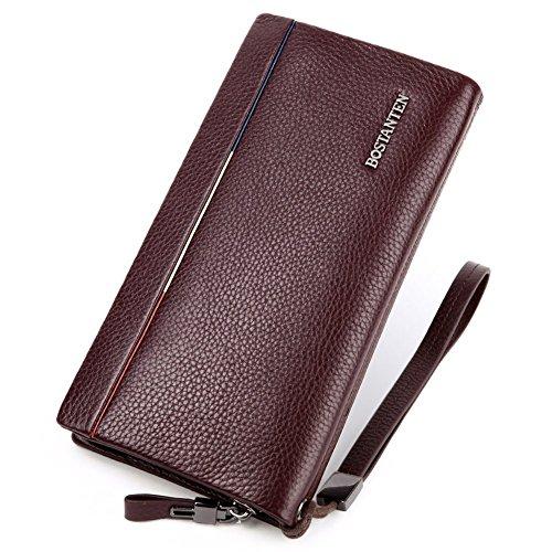 BOSTANTEN Portefeuille homme porte-monnaie cuir de vachette Porte-cartes de crédit Café