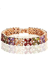 3aa4627e5b80 AieniD Joyas de Moda Pulsera Mujer Joven Cruz Flor Arco Iris Zirconia  Brazalete de Oro para