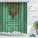 Ghirlanda di Natale Tenda da doccia Porta rustica rustica Tessuto in poliestere decorato Tende da bagno Impermeabile Anti-muffa Arredamento da bagno Accessori per la casa con 12 ganci per tende 180x200cm