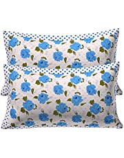 """Kuber Industries Flower 2 Piece Cotton Pillow Cover Set with Frill Flange - 17"""" x 26"""""""