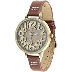 ufengke® retro freestyle wrist watch for women girls ladies-brown strap carved cinnamon numeral dial