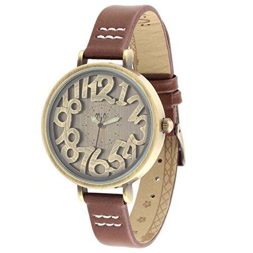 ufengke® rétro freestyle montre à bracelet du poignet pour les femmes filles dames-bracelet en brun cannelle sculpté cadran numérique