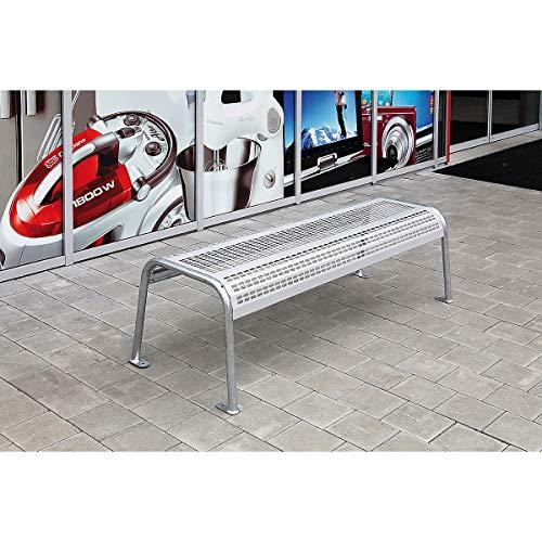 Certeo Stahlbank Meva City ohne Lehne | Länge 1621 mm | Gewicht 24 kg | Weißaluminium RAL 9006 | Parkbank Gartenbank Sitzbank Ruhebank Bank für Außenbereich
