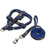 Haustier Leine - Denim Anzug Mode Praktische Versenkbare Gurt Nylon Metall Solide Zugseil(3-Teiliges Set),Blue,L