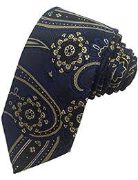 DUCHAMP London Mens 100% Silk Neck Tie Necktie Blue Gold Black Paisley