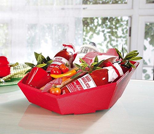 10 x Präsentkorb Swing rot, Weihnachtskorb, Geschenkkorb, Wellpappkorb 6-eckig – Größe: mini