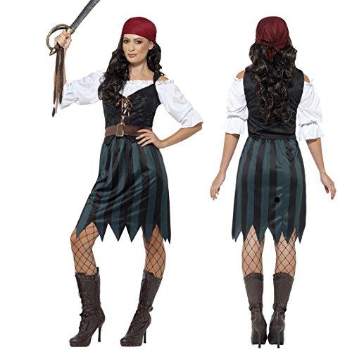 NET TOYS Piratenkostüm Damen Piratinnenkostüm S 36/38 Damenkostüm Seeräuberin Piratin Kostüm Freibeuterin Piraten-Outfit Frauen Faschingskostüm ()