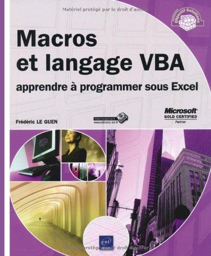 Macros et langage VBA - apprendre  programmer sous Excel