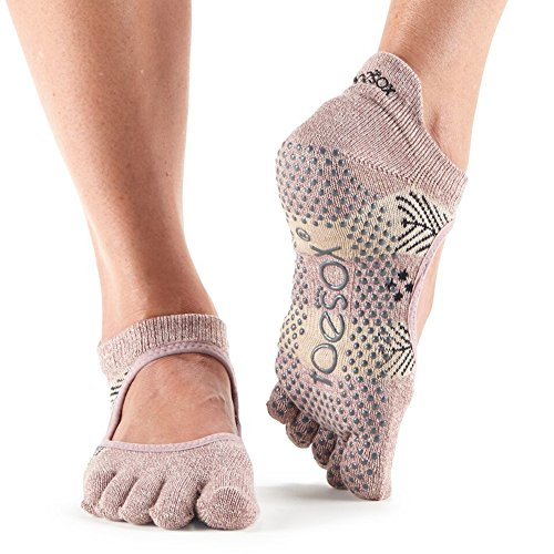Toesox–Calcetines de las mujeres Bellarina Full Toe Grip antideslizante para ballet, Yoga, Pilates, Barre Calcetines del dedo, Sugar Plum