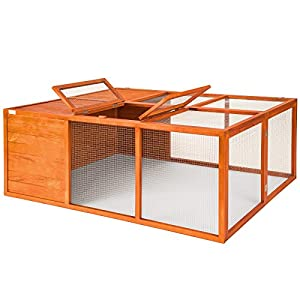 TecTake Foldable rabbit enclosure XXL cage guinea pig small animal run 159 x 110 x 55 cm