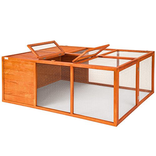 Tectake conigliera gabbia pieghevole xxl stalla lepre conigli casetta legno per esterni 159 x 110 x 55 cm