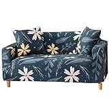 Funda de sofá Moderna y Sencilla para Mascotas, Antideslizante, elástica, para sofá de 1/2/3/4, Lily-Dark Green, 2 Seater Slipcover+1pcs Pillowcase